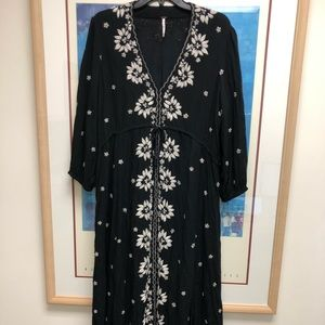 Free People Embroidered Fable Midi Dress in black